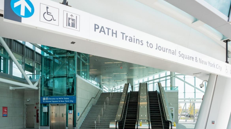 PATH train station with escalators